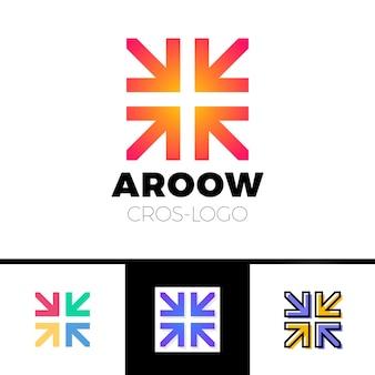 Un logo di quattro frecce forma croce o più concept grafico, emblema creativo di intersezione 4 direzioni