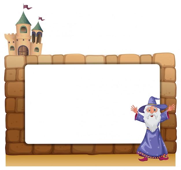 Un mago in piedi davanti a un bordo bianco vuoto