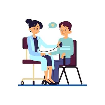 Un medico esamina il cuore del suo uomo paziente presso l'assistenza sanitaria, illustrazione piatta clinica vettoriale isolato. un uomo o un ragazzo alla visita medica.