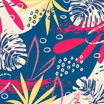 Un modello astratto tropicale alla moda con foglie e piante luminose su sfondo blu
