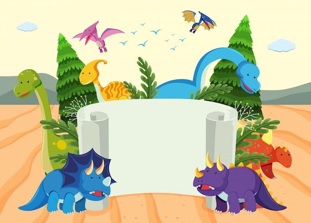 Un modello di banner di dinosauro