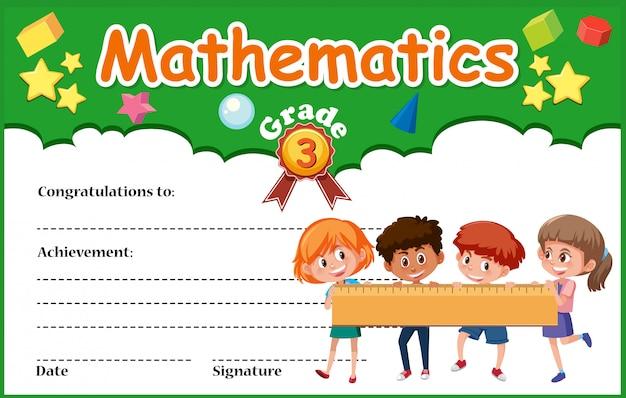 Un modello di certificato di diploma di matematica