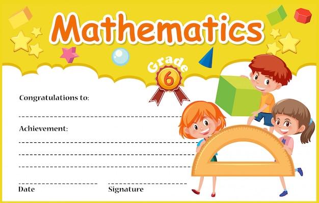 Un modello di certificato matematico