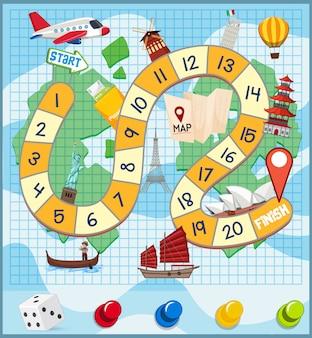 Un modello di gioco da tavolo di viaggio del mondo