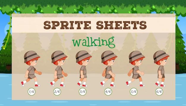Un modello di gioco di sprite sheet walking
