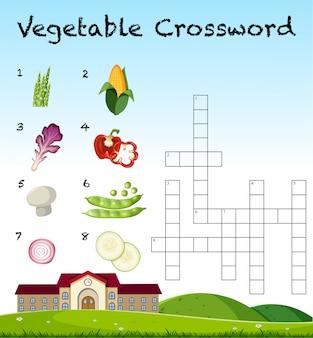 Un modello di parole incrociate di verdure