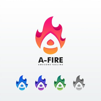 Un modello di vettore dell'illustrazione della fiamma del fuoco della lettera