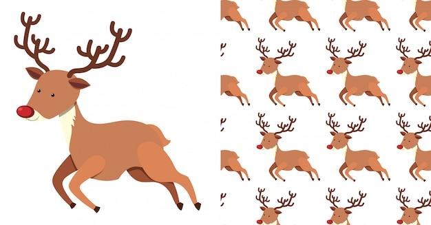 Un modello senza cuciture su bianco delle renne festive