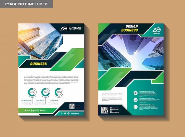 Un moderno layout di brochure di copertina aziendale con forma