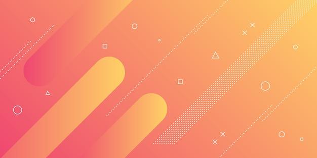 Un moderno sfondo astratto con elementi di memphis e un colore sfumato rosso-arancio e contemporaneo.