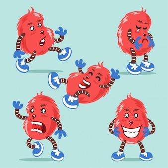 Un mostro con varie espressioni carattere illustrazione