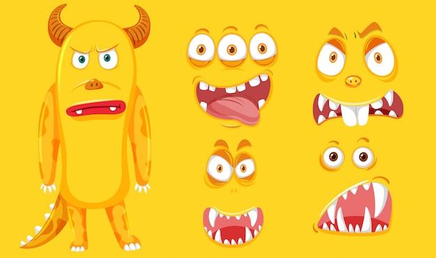 Un mostro giallo con set facciale
