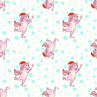 Un natale festivo magico pattini unicorno
