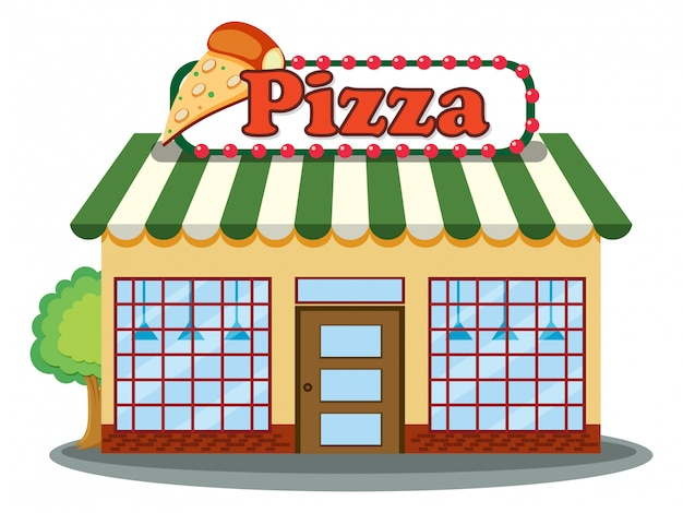 Un negozio di pizza su sfondo bianco
