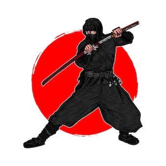 Un ninja shinobi in posizione per combattere un nemico con la sua katana, illustrazione disegnata a mano