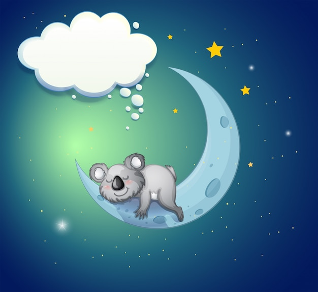 Un orso koala sopra la luna