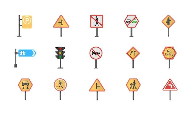 Un pacchetto di icone piane di vettore dei segnali stradali e degli incroci