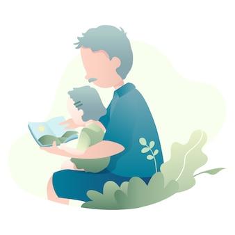 Un padre che legge un libro di storia per la sua illustrazione figlia