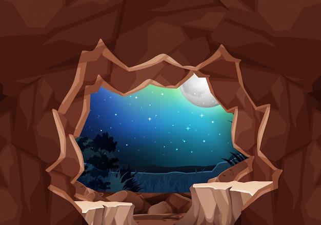 Un paesaggio cavernoso al chiaro di luna
