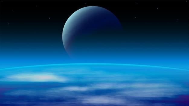 Un paesaggio cosmico con grandi pianeti e spazio esterno oscuro. illustrazione realistica di spazio aperto