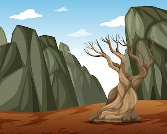 Un paesaggio di montagna secco