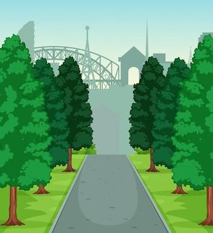 Un paesaggio di strada natura