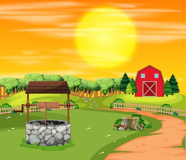 Un paesaggio di terreni agricoli al tramonto