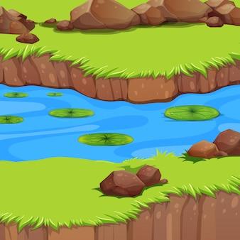 Un paesaggio fluviale piatto