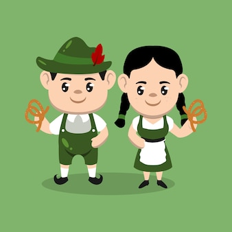Un paio di bambini con l'illustrazione di disegno della mascotte del costume dell'oktoberfest