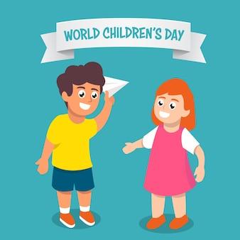 Un paio di bambini nell'illustrazione della giornata mondiale dei bambini