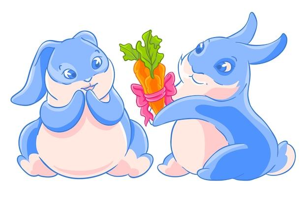 Un paio di coniglietti dà un mazzo di carote. carattere in amore