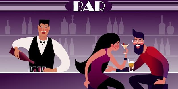 Un paio di millennial ad un appuntamento in un night club e un barista al bar che versa. illustrazione piatta.