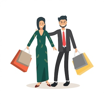 Un paio di persone che vanno a fare shopping. stile di vita del coniuge compagno personaggio.