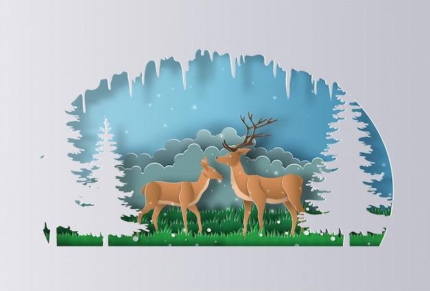 Un paio di renne cammina attraverso una foresta all'inizio dell'inverno.