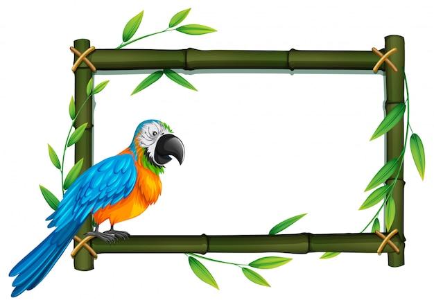 Un pappagallo sul bordo di bambù