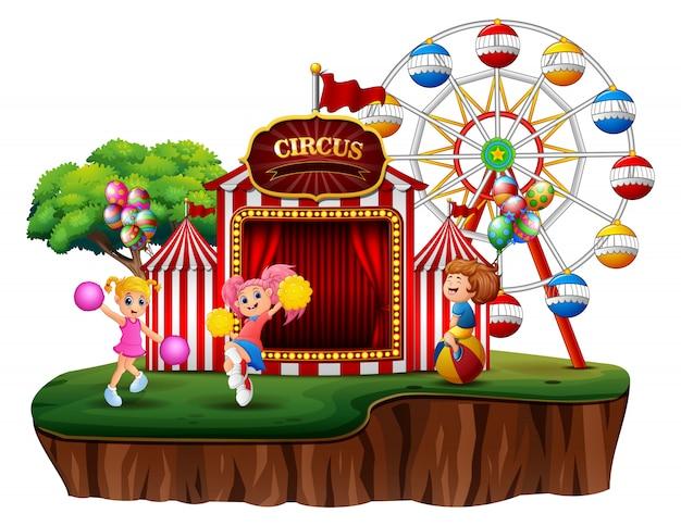 Un parco divertimenti sull'illustrazione dell'isola