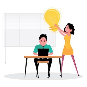 Un personaggio dei cartoni animati che mostra una donna e un uomo pensano che un'idea imprenditoriale sia caratterizzata da una lampadina gialla come simbolo di successo