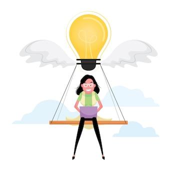 Un personaggio dei cartoni animati che mostra una donna pensa che un'idea imprenditoriale includa una lampadina gialla come simbolo di successo