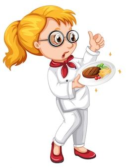 Un personaggio di cucina su sfondo bianco