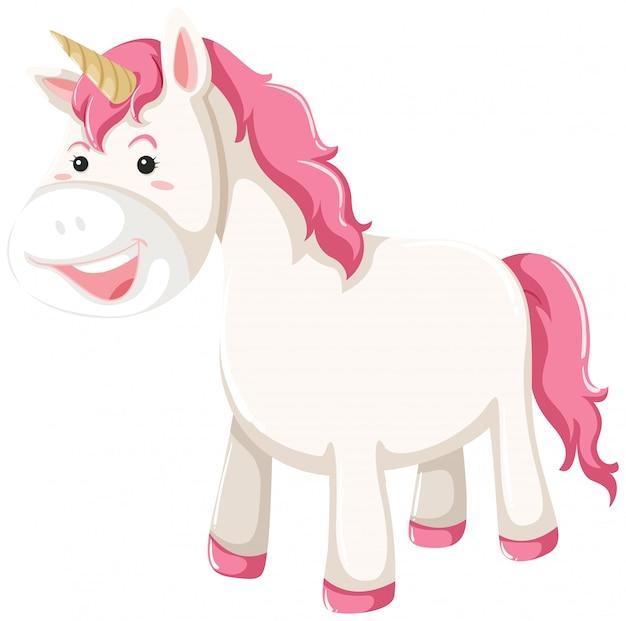 Un personaggio di unicorno su sfondo bianco