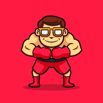Un personaggio geek di boxe ilustration