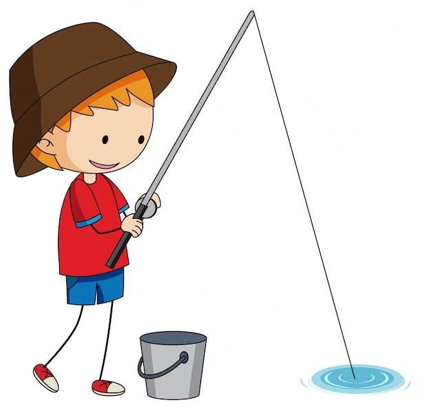 Un pescatore scarabocchio su sfondo bianco