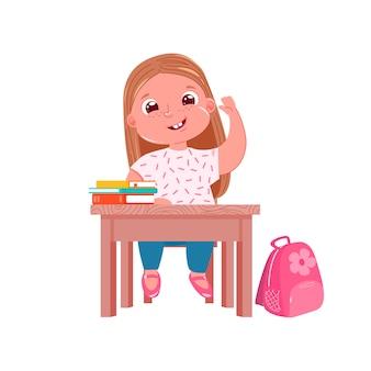 Un piccolo personaggio ragazza carina al banco sulla lezione
