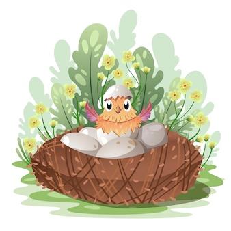 Un piccolo pollo nato da un uovo.