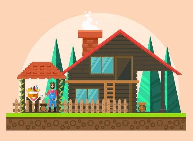 Un picnic in una casa di campagna. vacanza.
