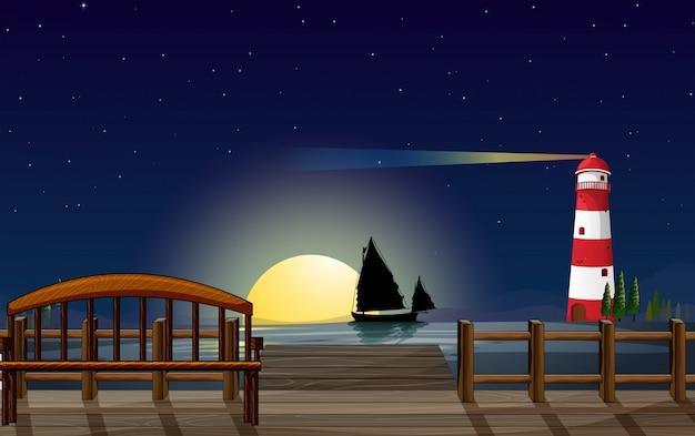 Un porto marittimo con un faro