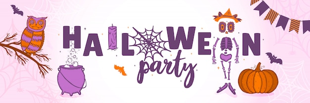 Un poster festivo per la festa di halloween. banner orizzontale per una vacanza.