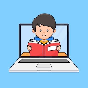 Un ragazzo ama leggere per studiare in linea l'istruzione moderna sull'illustrazione del fumetto dello schermo del laptop