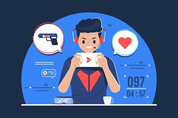 Un ragazzo dipendente dalle illustrazioni di giochi per cellulari