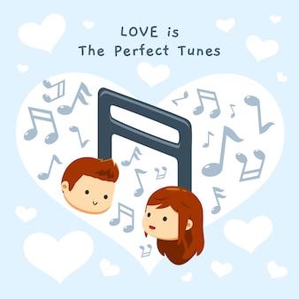 Un ragazzo e una ragazza su una melodia